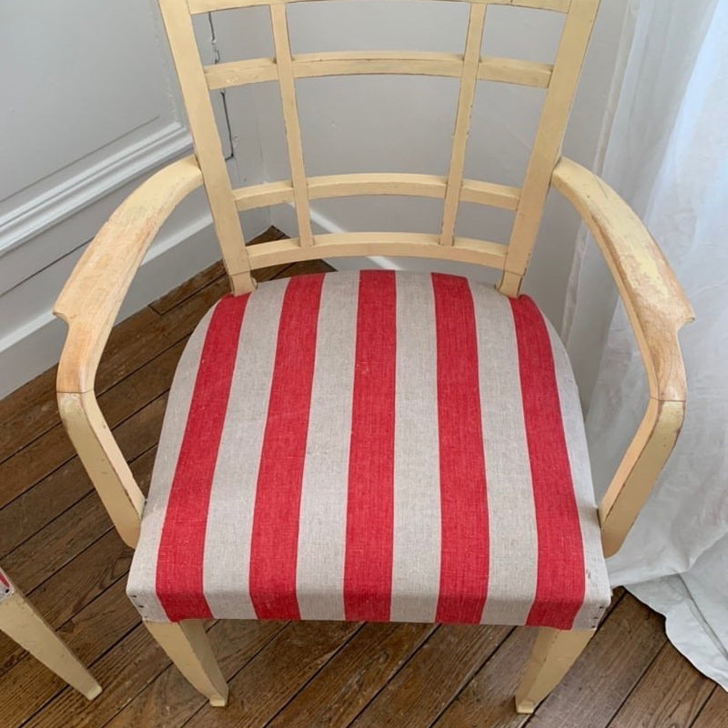 Armchairs with Vintage Linen (Red Wide Stripe)
