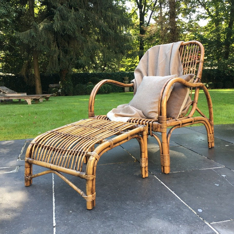 Rattan Lounge Chair & Footrest