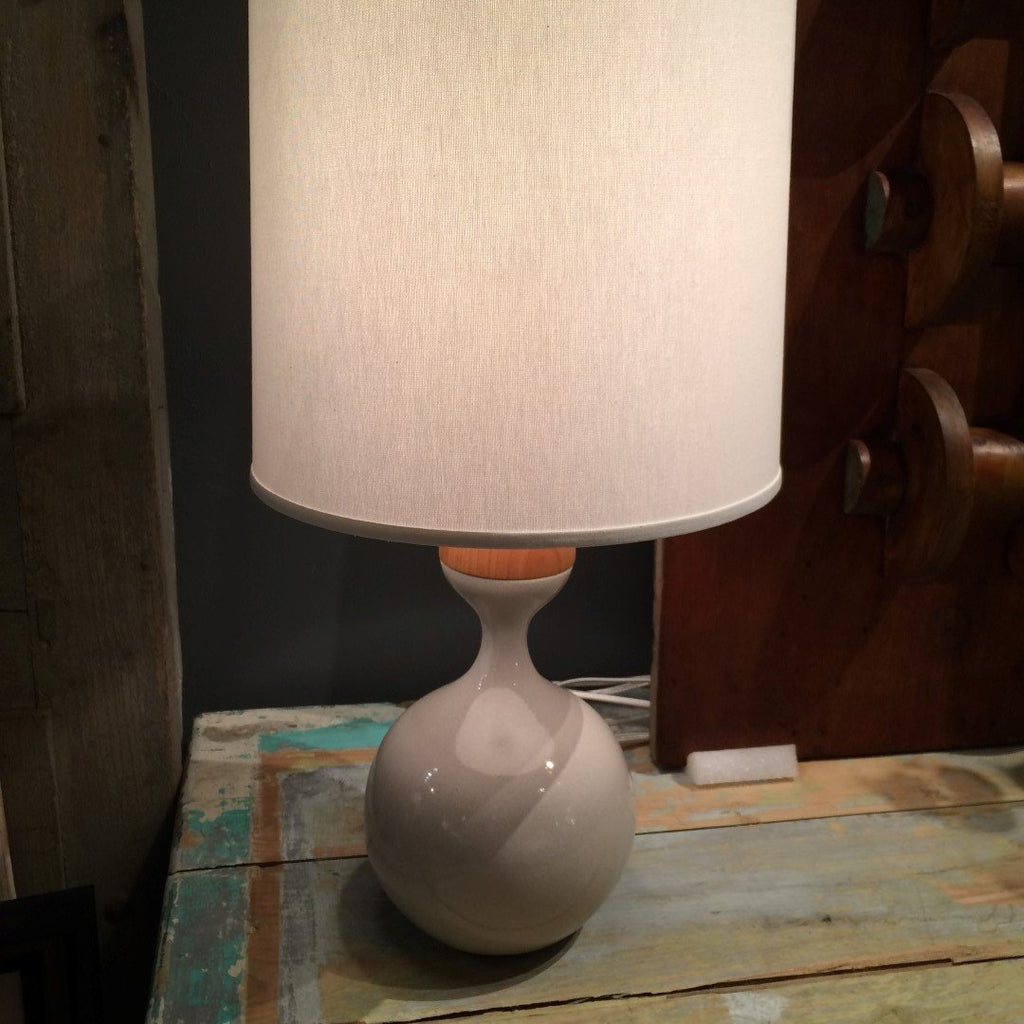 Alder & Stoneware Table Lamp