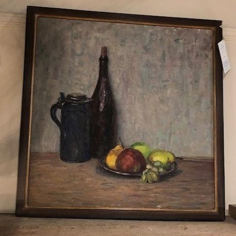 Bottles and Fruit Oil Painting Brown/Gold Frame