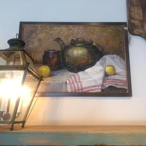 Tea Pot and Apples Oil Painting Steel Blue Frame