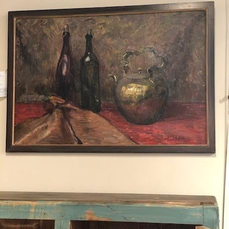 Tea Pot and Bottles Oil Painting Brown/Gold Frame