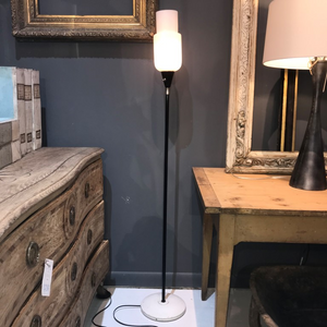 Opaline and Metal Floor Lamp