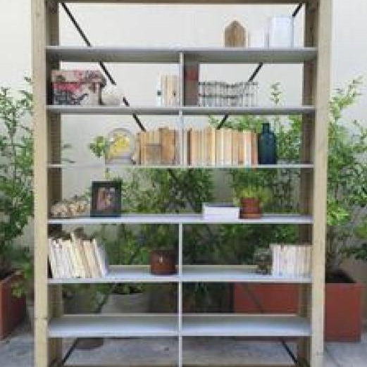 Large Bookcase with Iron  X Support