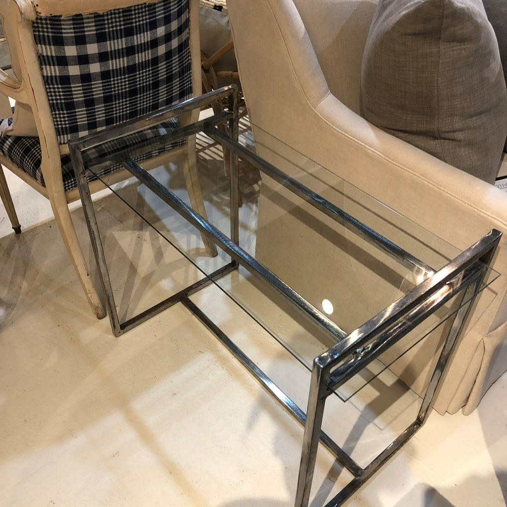Contemporary Steel Side Table w/ Glass Top