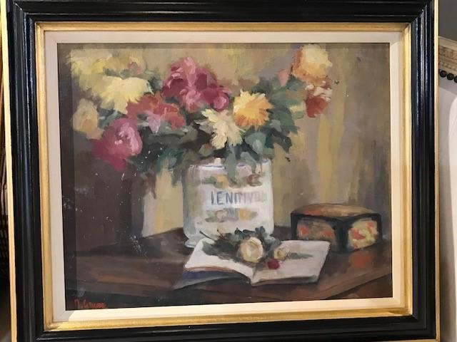 """Flowers in Container"" Oil on Board-Black & Gold Frame"