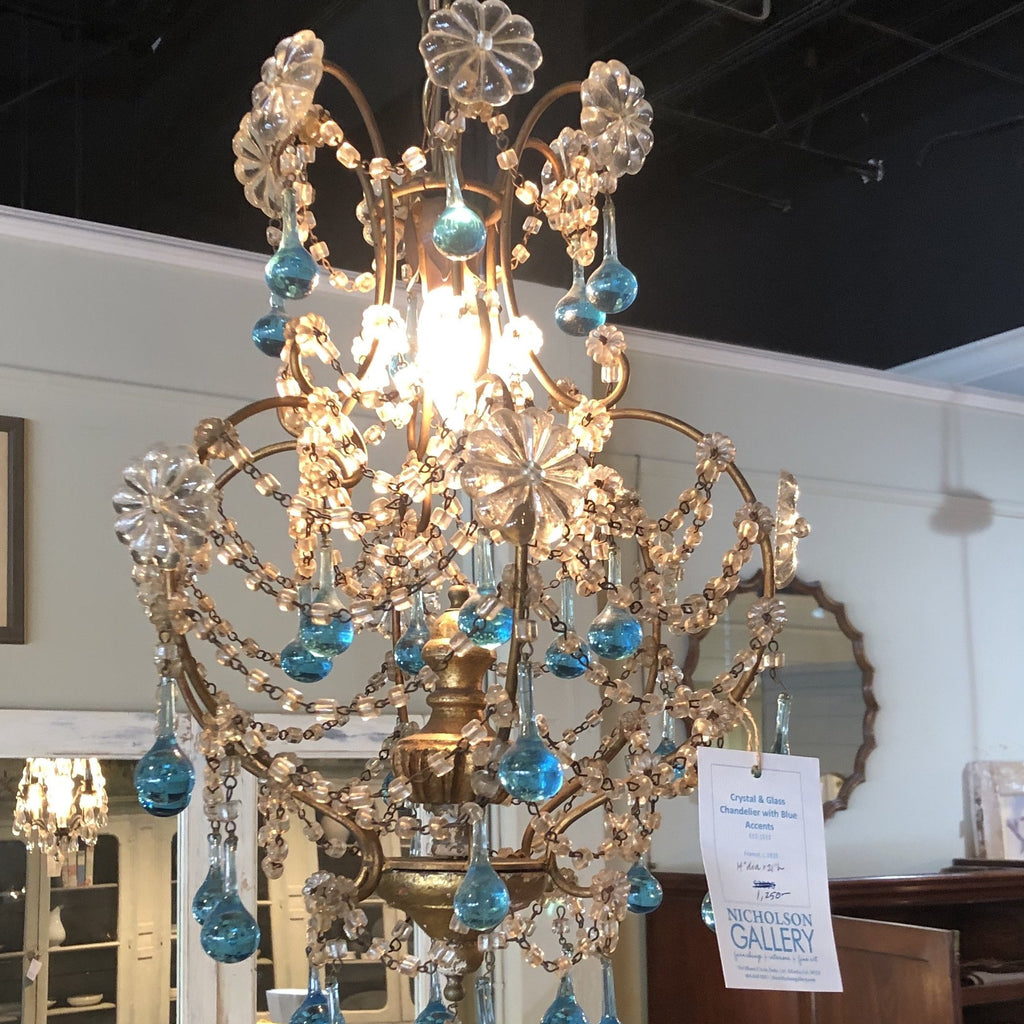 Crystal & Glass Chandelier with Blue Accents