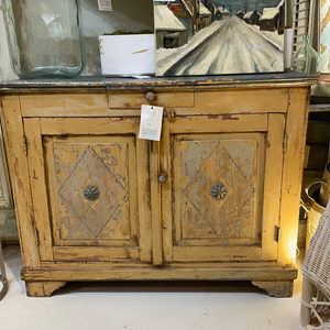 Colorful Painted Cabinet (Blue w/ Ochre)