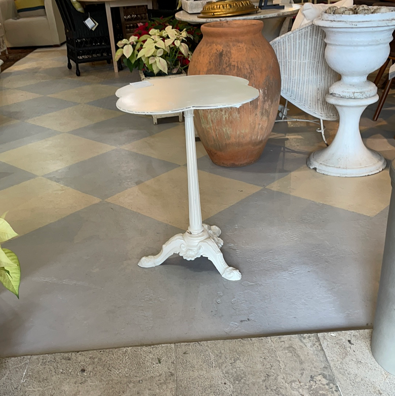 White Cast Iron and Metal Bistro Table