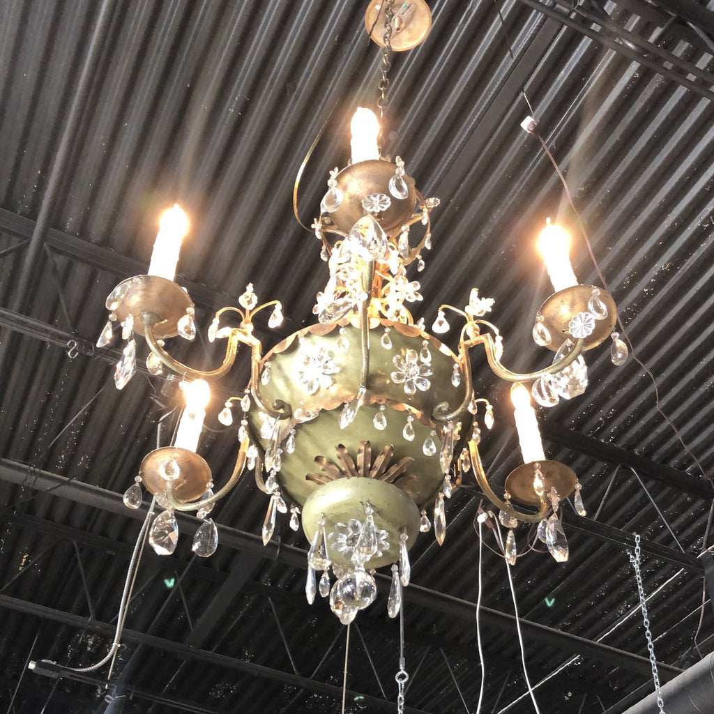Crystal and tole paint with gilt chandelier