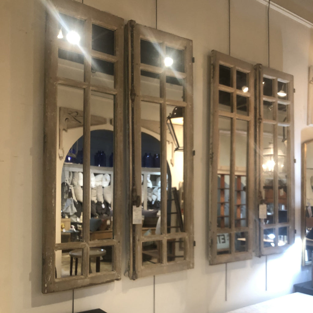 Pair of Unusual Multi-Pane Mirrored Windows