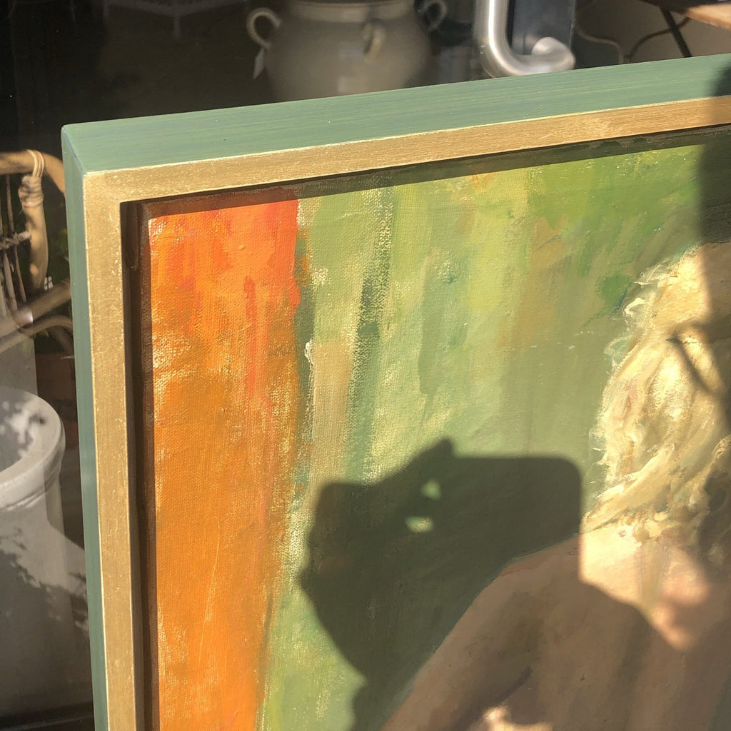 Lady Nude Framed Gold & Green