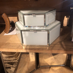 White Glass Hexagon Boxes with Hinge