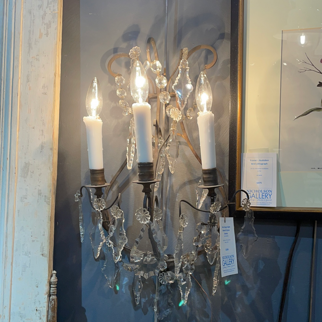 Pair of Large 3-light Bronze & Crystal Sconces