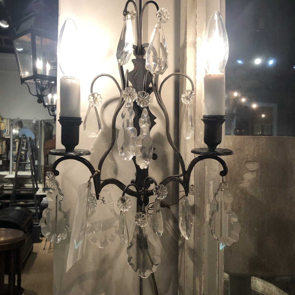 Pair of Bronze & Crystal Sconces