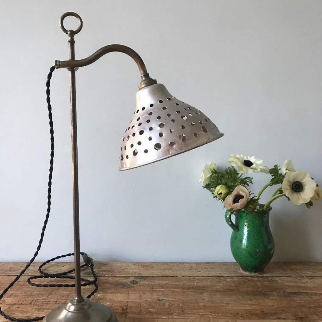 Nickel Plated Lamp with Perforated Shade