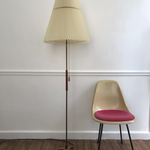 Brass and Wood Floor Lamp
