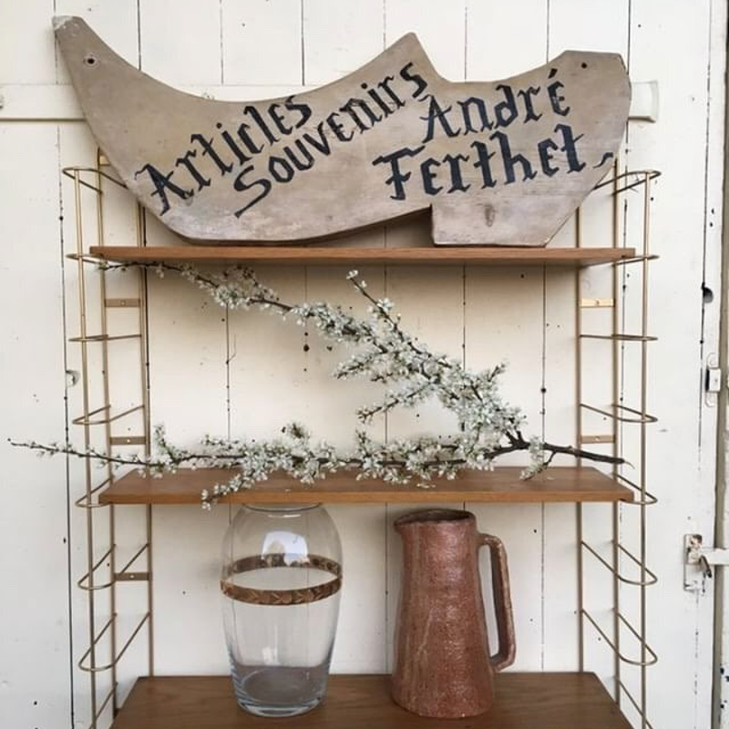 Three-tier Metal and Wood String Shelving
