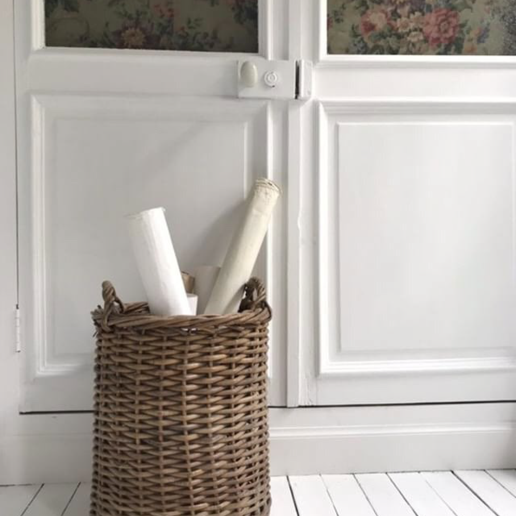 Cylindrical Wicker Basket