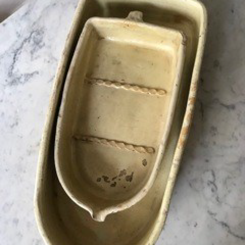 Large Yellow Earthenware Dish with Spout