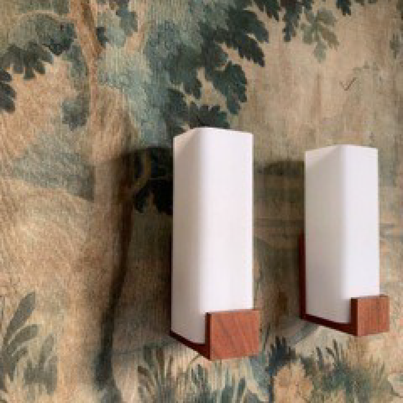 Scandinavian Sconces - Wood with Opaline Glass Globe (Pair)
