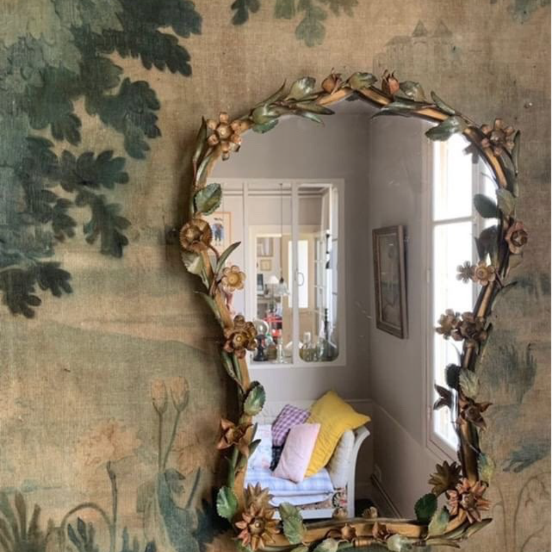 Mirror with Painted Metal Flowers