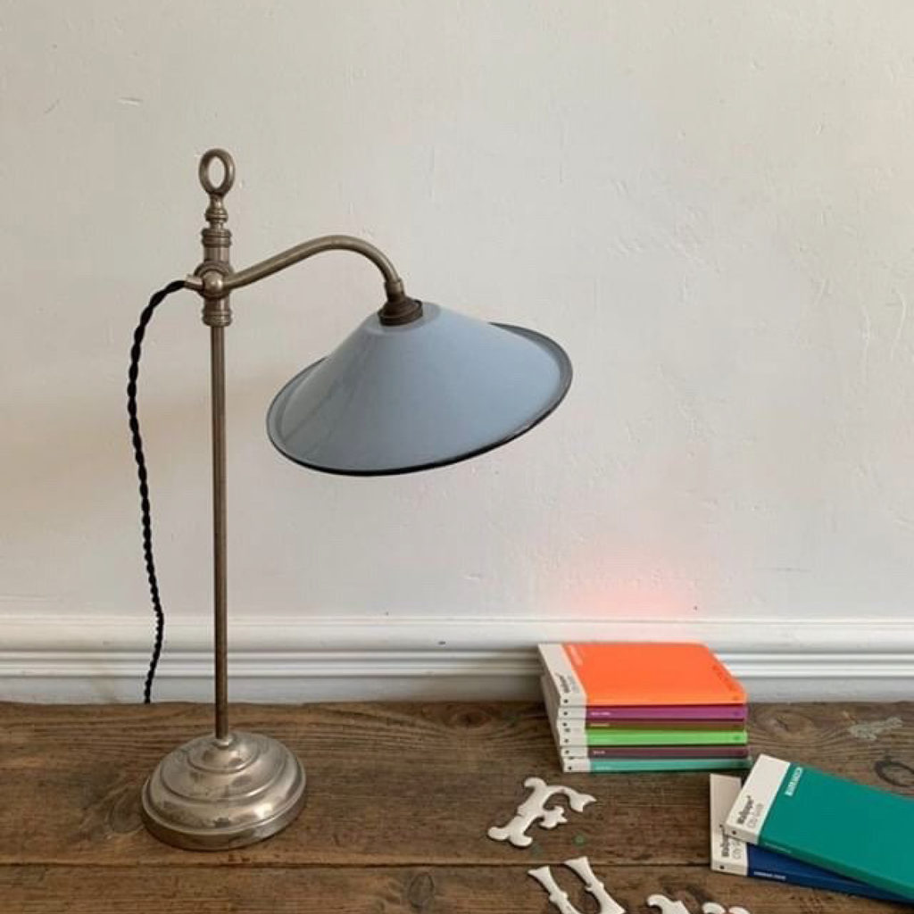 Pale Blue/ Gray-Desk Lamp