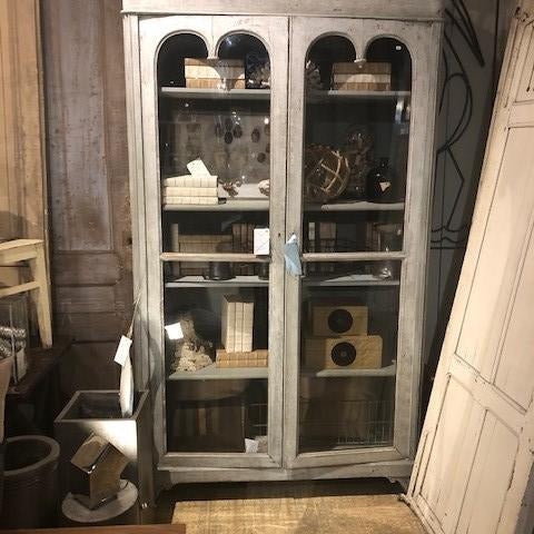 Vitrine with Double Arched Doors Tall Case
