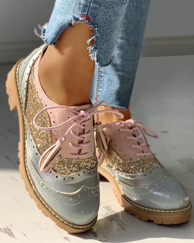 Lace-Up Sequins Insert Chunky Heeled Shoes