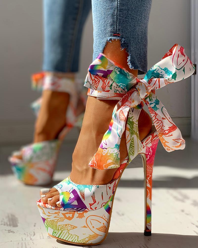 Colorful Print Tied Detail Platform Heeled Sandals