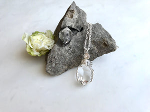 "ハーキマーダイアモンド 7/8"" + 3/8"" シルバー 925 / Herkimer Diamond 7/8"" + 3/8"" Necklace Sterling Silver 925"