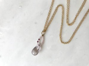 ローズアメジスト ネックレス 14KGF / Rose Amethyst Necklace Drop Shaped 14K GF