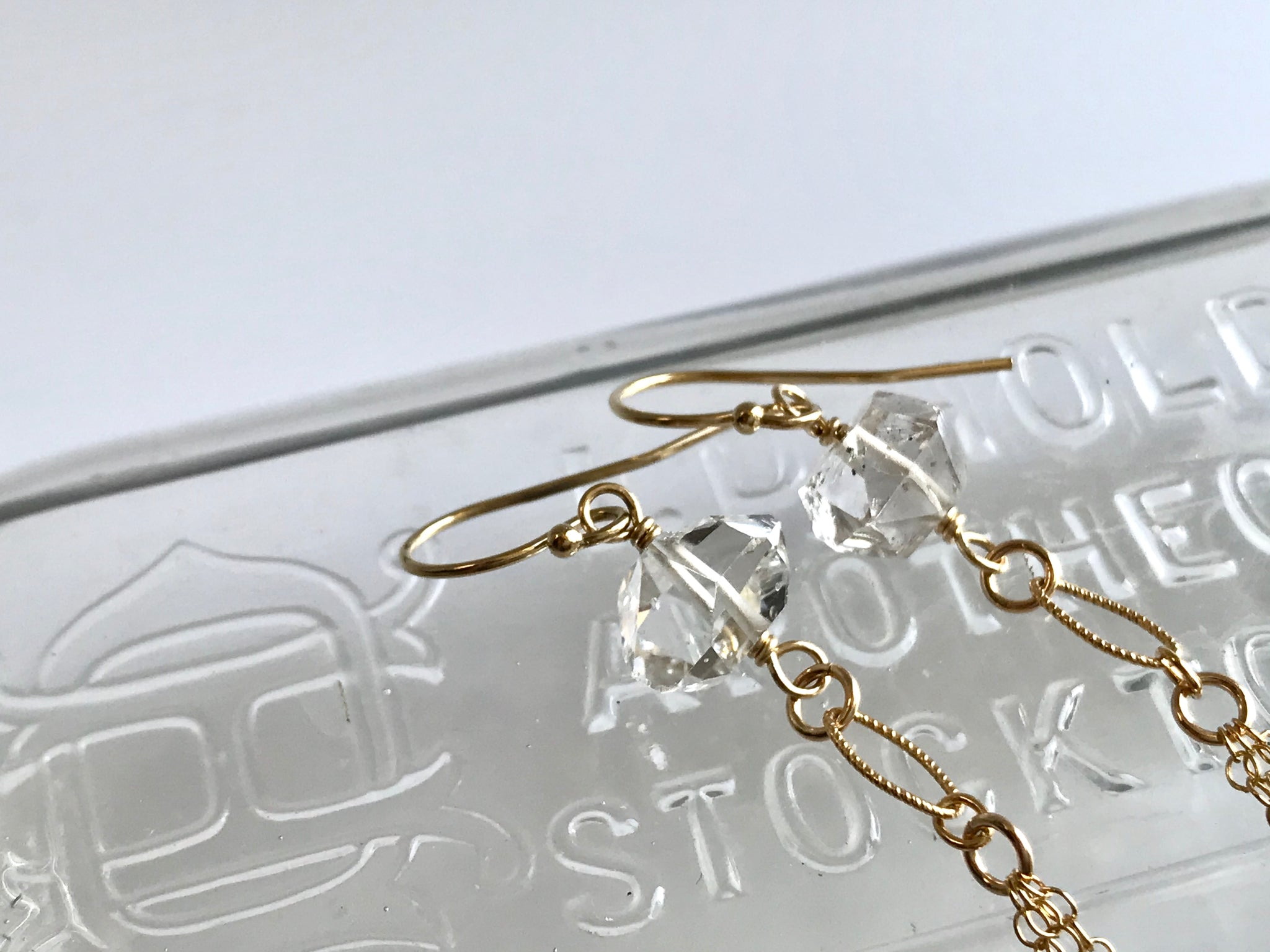 ハーキマーダイアモンド ピアス タッセル  14K Gold-Filled / Herkimer Diamond Earrings Tassel Sterling 14K Gold-Filled