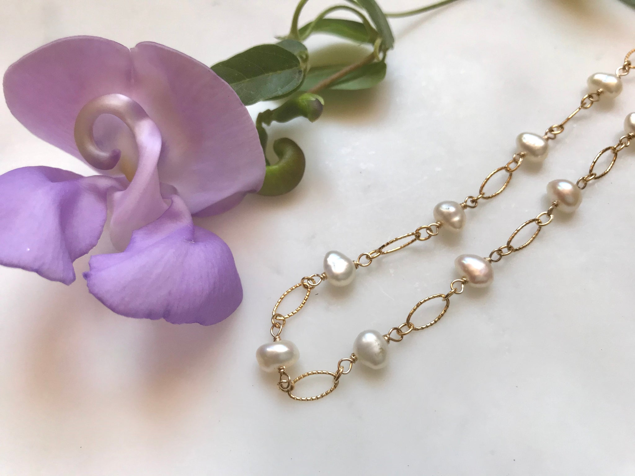 ネックレス 14K ゴールドフィル / Fresh Water Pearl Chain Pearl Necklace 14K Gold-Filled