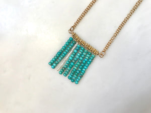 ターコイズ スクエア ネックレス 14KGF / Turquoise Square Necklace 14K Gold-Filled