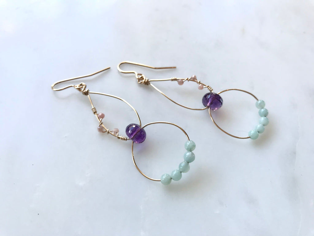 Amethyst Pink Moonstone Gourd Earrings 14K Gold-Filled / アメジスト ピンクムーンストーン ピアス 14K ゴールドフィルド
