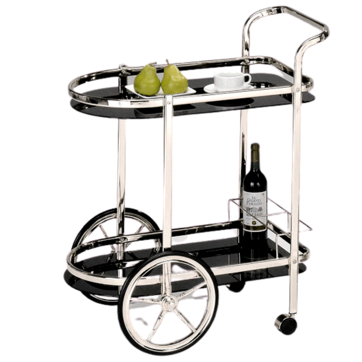 BAR CART - CHROME & BLACK TEMPERED GLASS