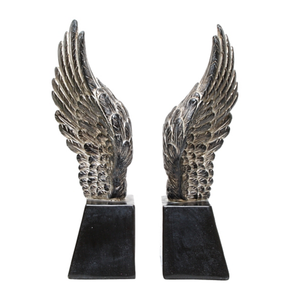 ANGEL WING BOOKENDS -  GREY WASH 28CM (H)