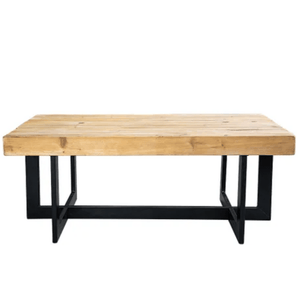 COFFEE TABLE NATURAL WOOD & BLACK IRON LEGS