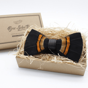 FEATHER BOW TIE BLACK HANDCRAFTED - Bowerbird on Argyle