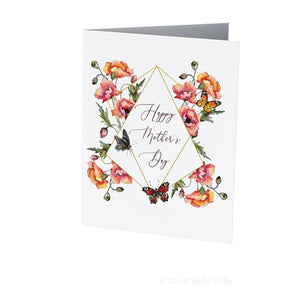 HAPPY MOTHERS DAY GREETING CARD POPPIES & BUTTERFLIES