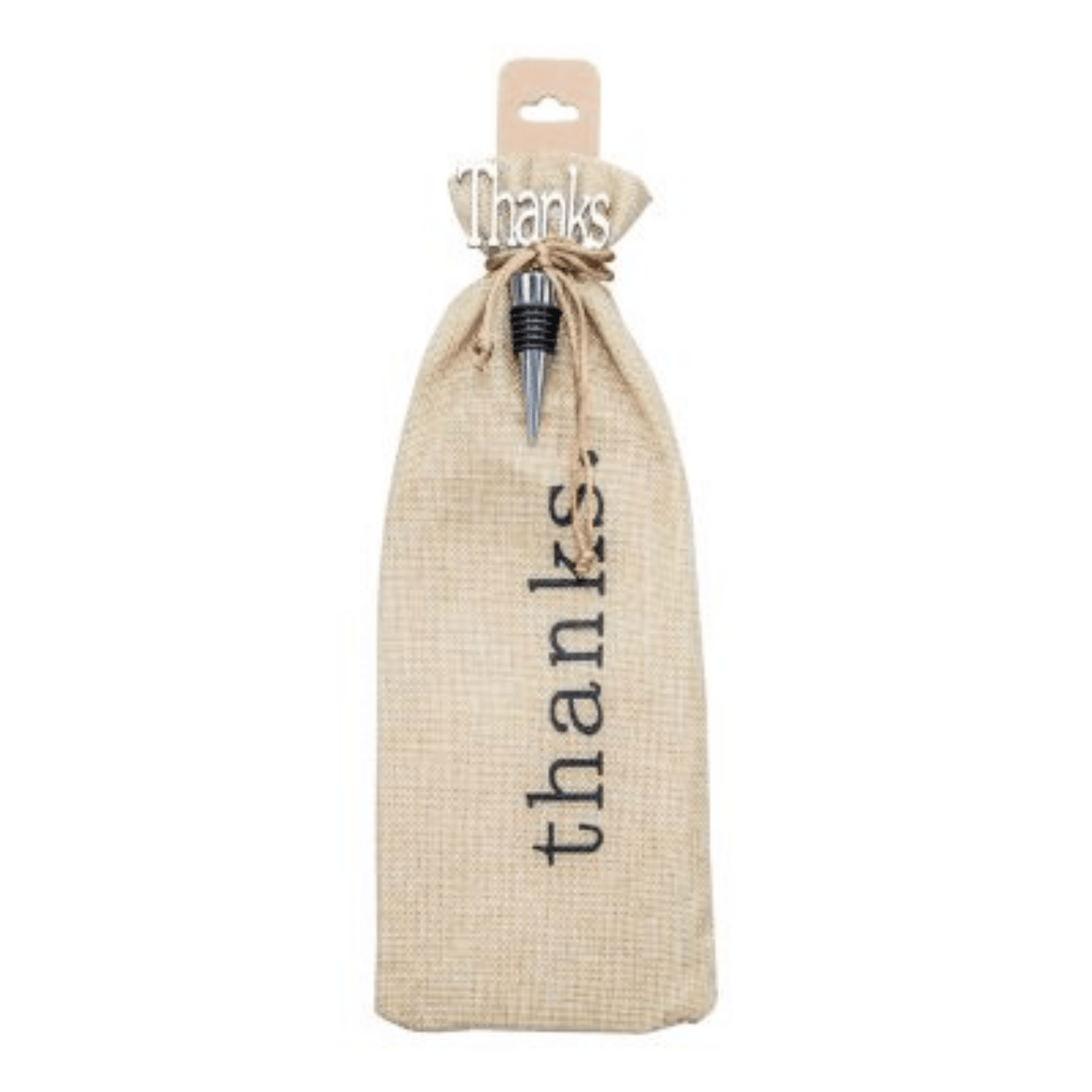 'THANKS' WINE BOTTLE STOPPER & BURLAP GIFT BAG - Bowerbird on Argyle