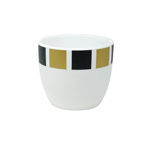 CERAMIC POT BLACK & GOLD SQUARE PATTERN 12CM (W) X 10CM (H) - Bowerbird on Argyle