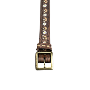 WILD ABOUT DAISY BELT - ANTIQUE BRASS BUCKLE / VINTAGE BROWN