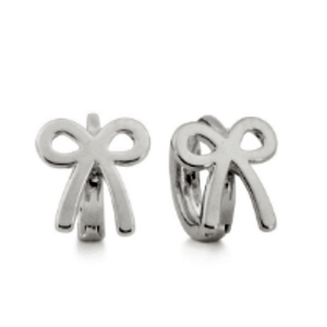 PLAIN BOW DETAILED HUGGY EARRINGS / SILVER - Bowerbird on Argyle