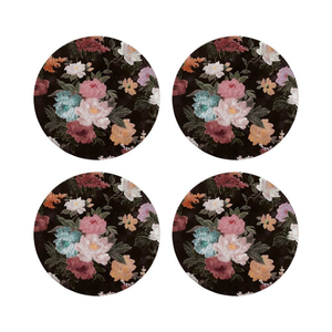 COASTERS - BLACK FLORAL SET 4 - CORK BACKING