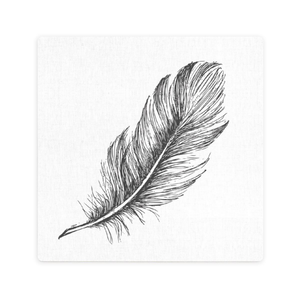 LUXE BLACK FEATHER PRINT CERAMIC COASTER / CORK BACKING