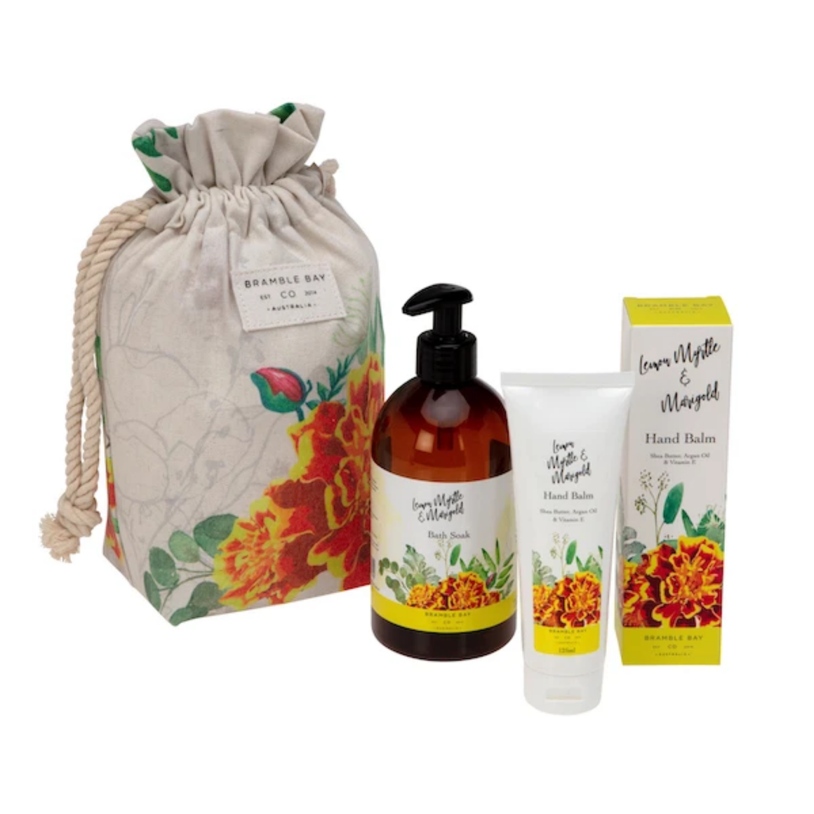 GIFT BAG LEMON MYRTLE & MARIGOLD (HAND BALM, BODY WASH & SPONGE)