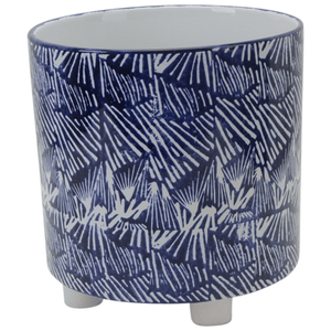 PLANTER CERAMIC WITH FEET BLUE/WHITE