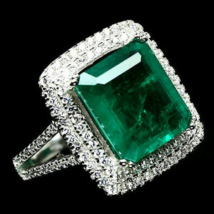 Octagon Cut Forest Green Doublet Emerald Ring. Size 'L'